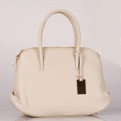 Valódi bőr bézs női táska