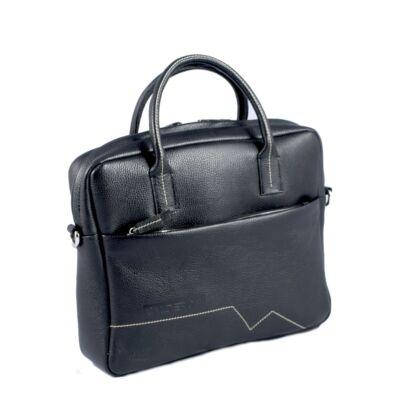 Calderón fekete laptopos kicsi táska beige dísztűzéssel